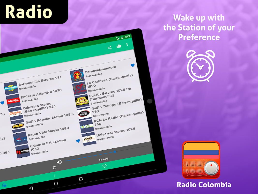 Android Free Colombia Radio AM FM Screen 7