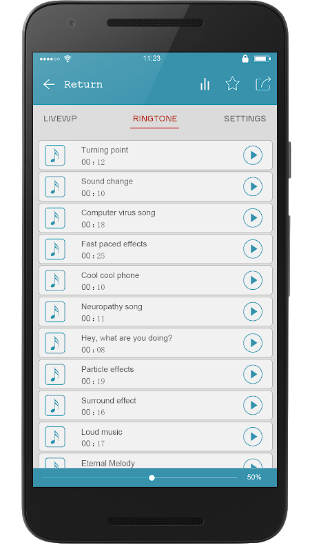 Android Super Popular Ringtone Ranking Screen 2