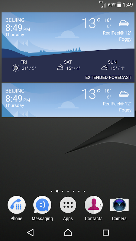 Android Sony Weather Screen 7