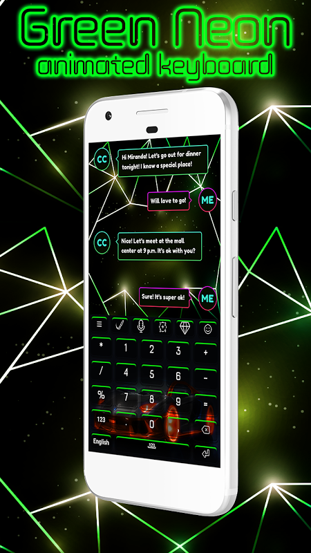 Android Green Neon Animated Keyboard Screen 3