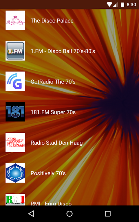 Android Live Radio 70s Screen 1