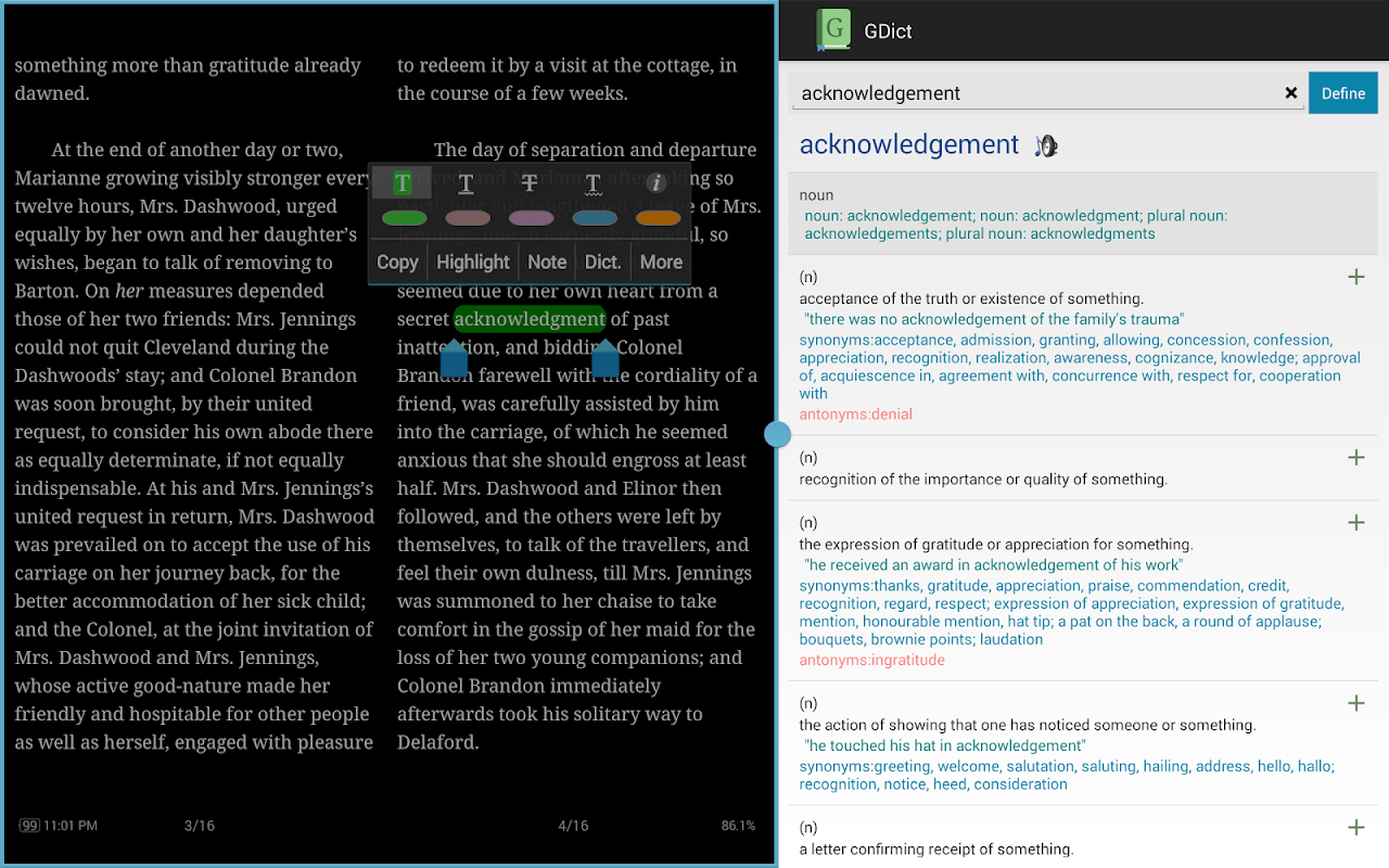 GDict - Google Dictionary Alternative for Android 2.5 Screen 7