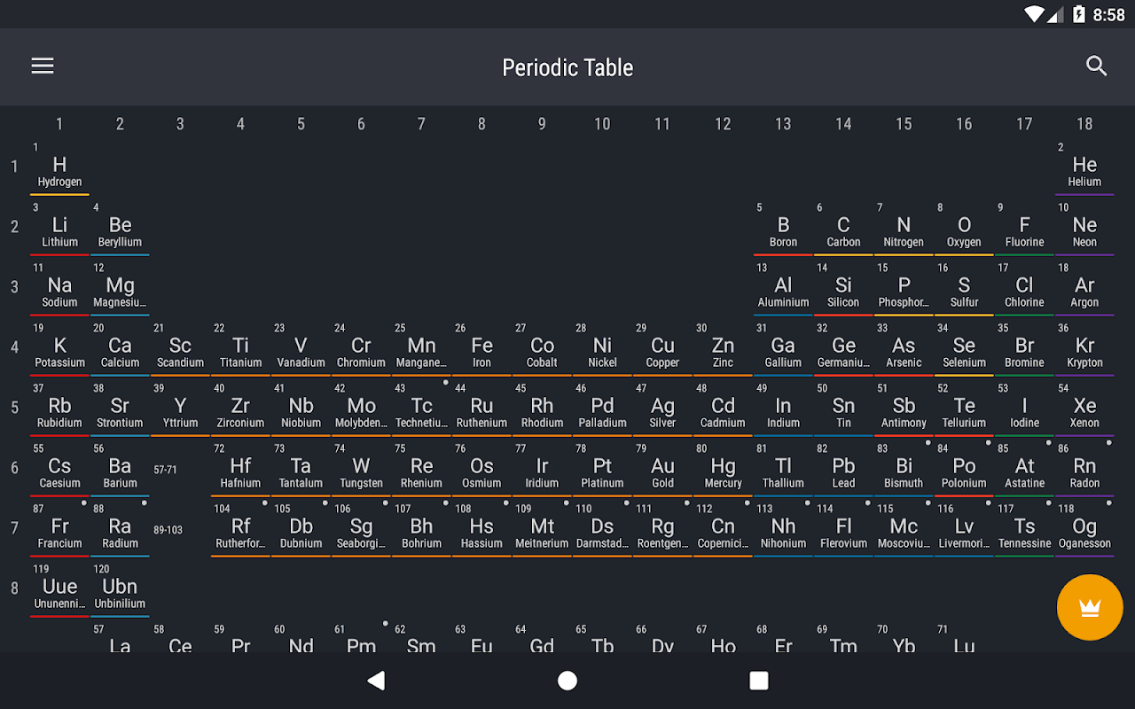 Android Periodic Table 2018 Screen 8