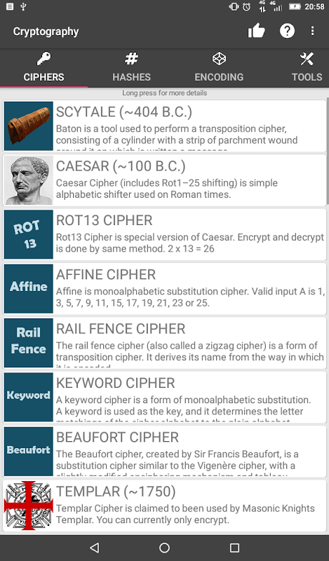 Cryptography (Collection of ciphers and hashes) 1.6.8 Screen 6
