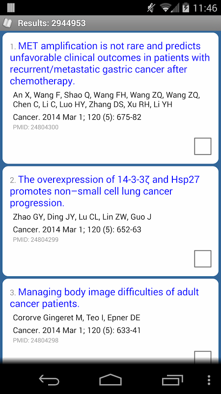 Android PubMed Mobile Screen 1