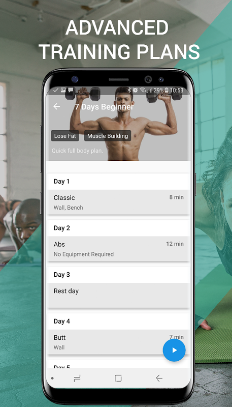 Android 7 Minute Workouts Screen 2