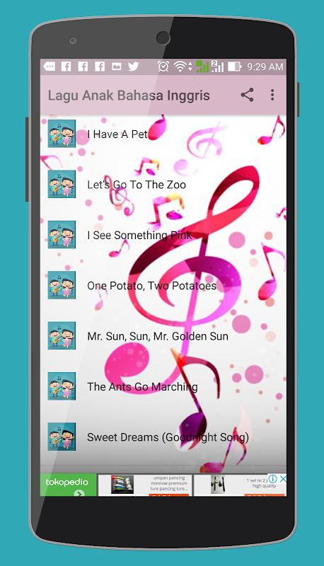 Android Lagu Anak Bahasa Inggris dan Lirik Screen 1