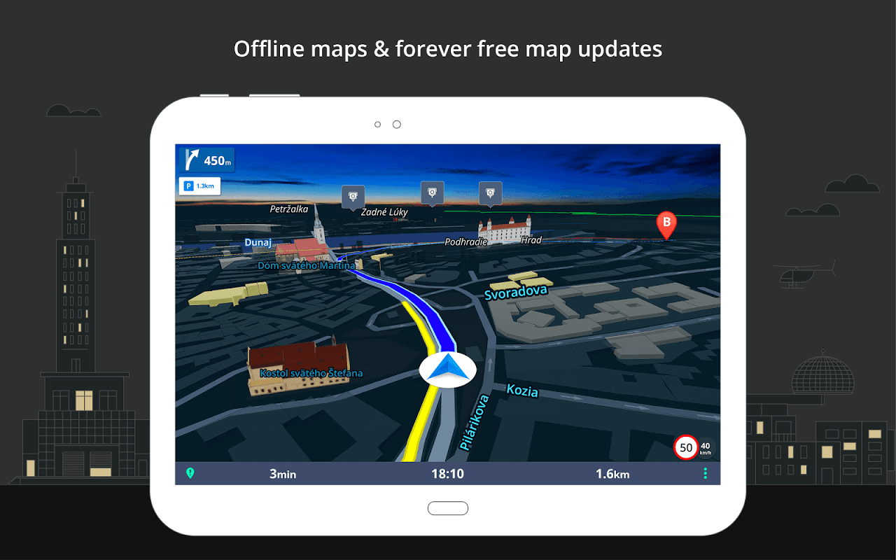 Android GPS Navigation & Maps Sygic Screen 9