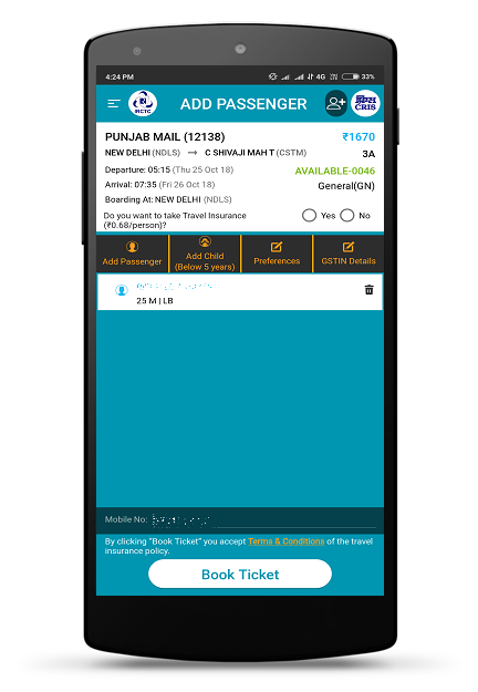 IRCTC Rail Connect 2.1.39 Screen 4