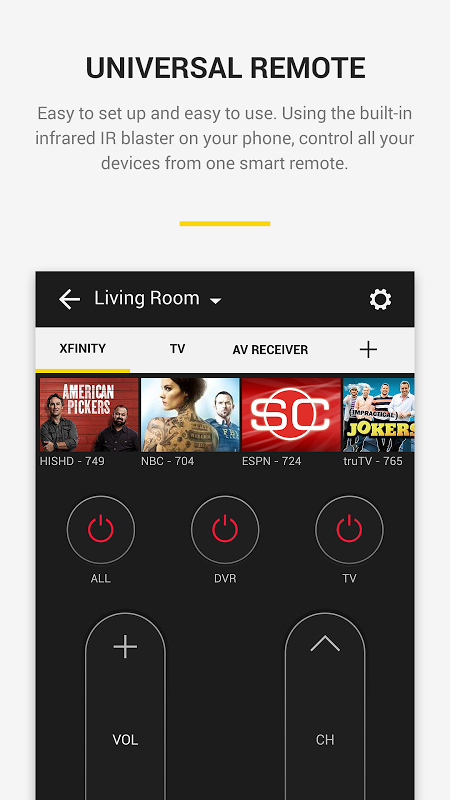 Android Peel Smart Remote TV Guide Screen 2