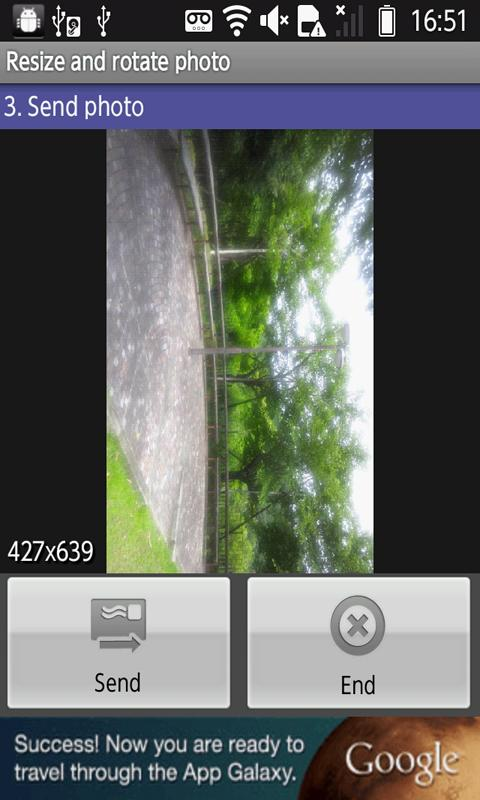 Android Resize and rotate photo Screen 3