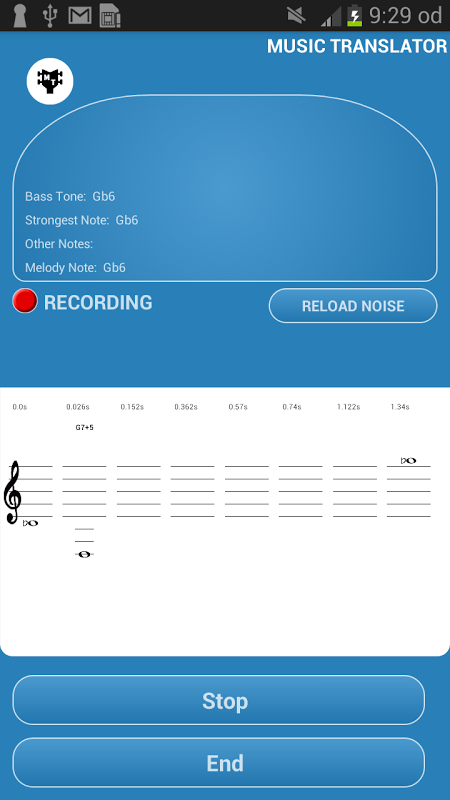 Android Music Translator (Recognition) Screen 1