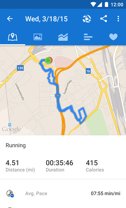 Android Runtastic PRO Running, Fitness Screen 3