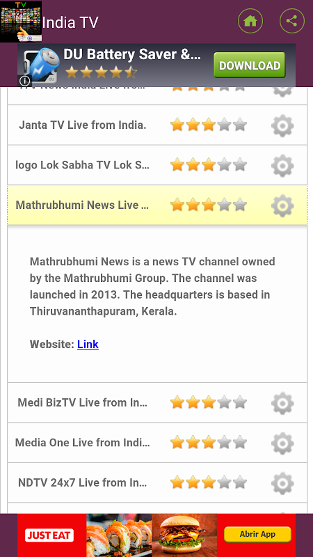 Android television channels in India Screen 1