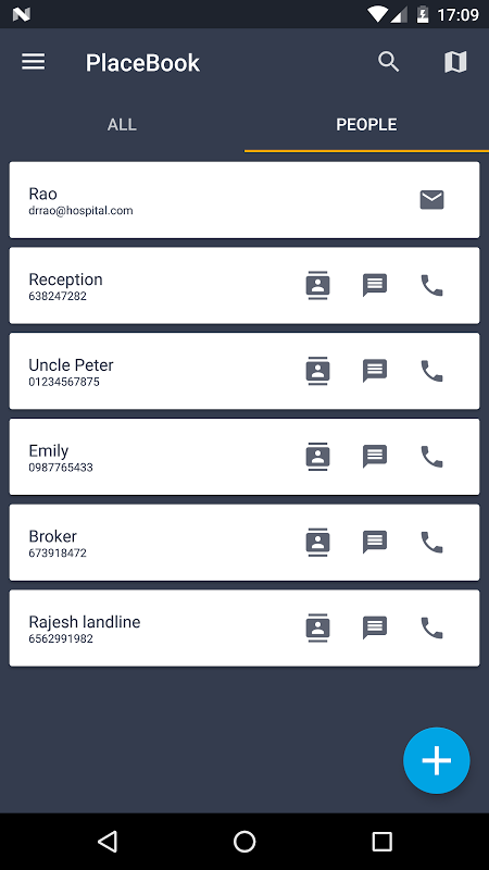 Android Address book - Placebook Screen 4