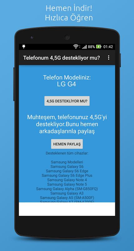 Telefonum 4,5G destekliyor mu? 1.0.6 Screen 2