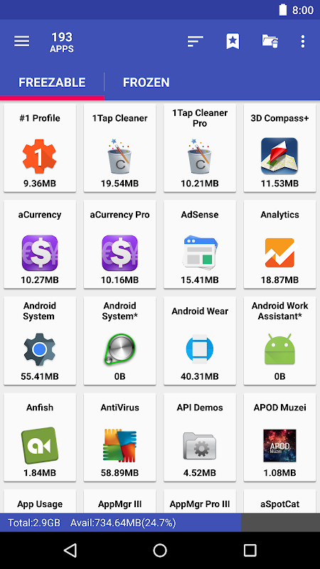 AppMgr Pro III (App 2 SD, Hide and Freeze apps) 4.58 Screen 3