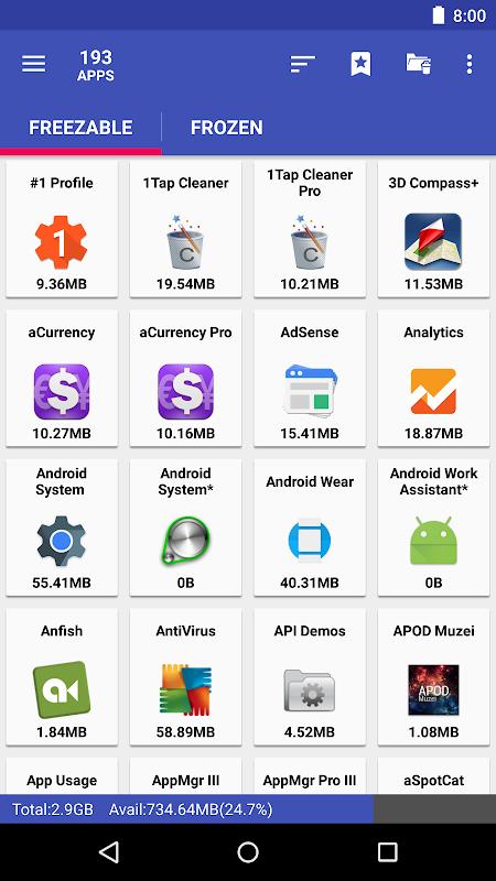 AppMgr Pro III (App 2 SD, Hide and Freeze apps) 4.58 Screen 3