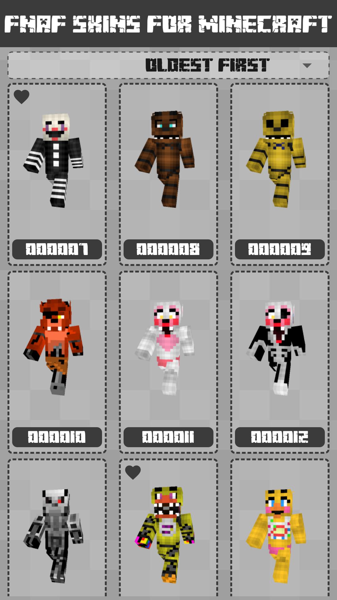 FNAF Skins for Minecraft PE 1.1.0.003 Screen 2