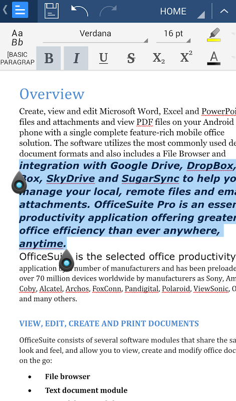 Android OfficeSuite Font Pack Screen 6