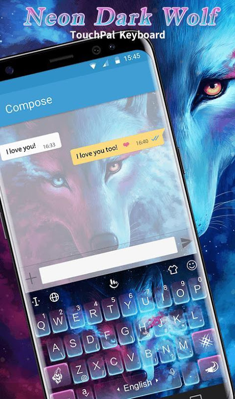 Android Blue Night Neon Dark Wolf Keyboard Theme Screen 4