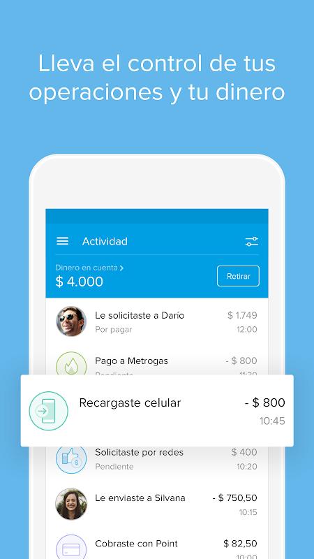 Android Mercado Pago: recargar saldo y pagar cuentas Screen 4