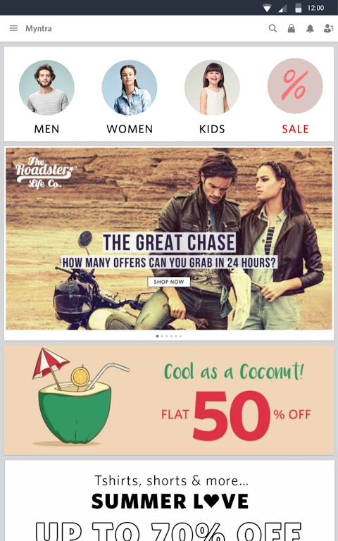 Android Myntra Online Shopping App Screen 1