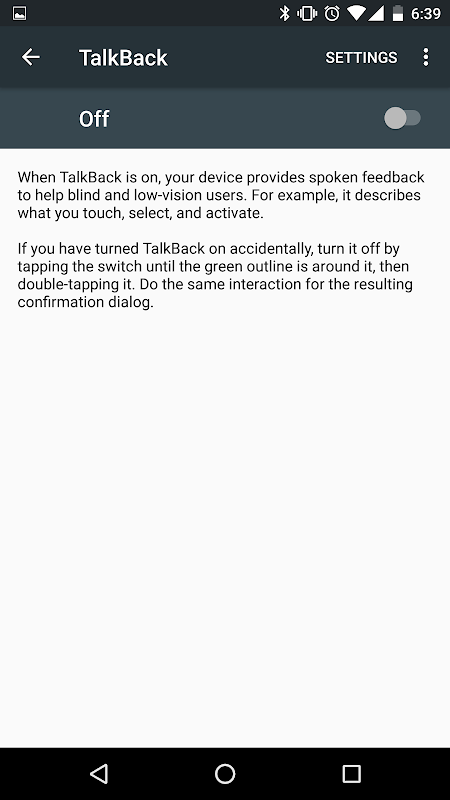Google TalkBack 5.0.2 Screen 5