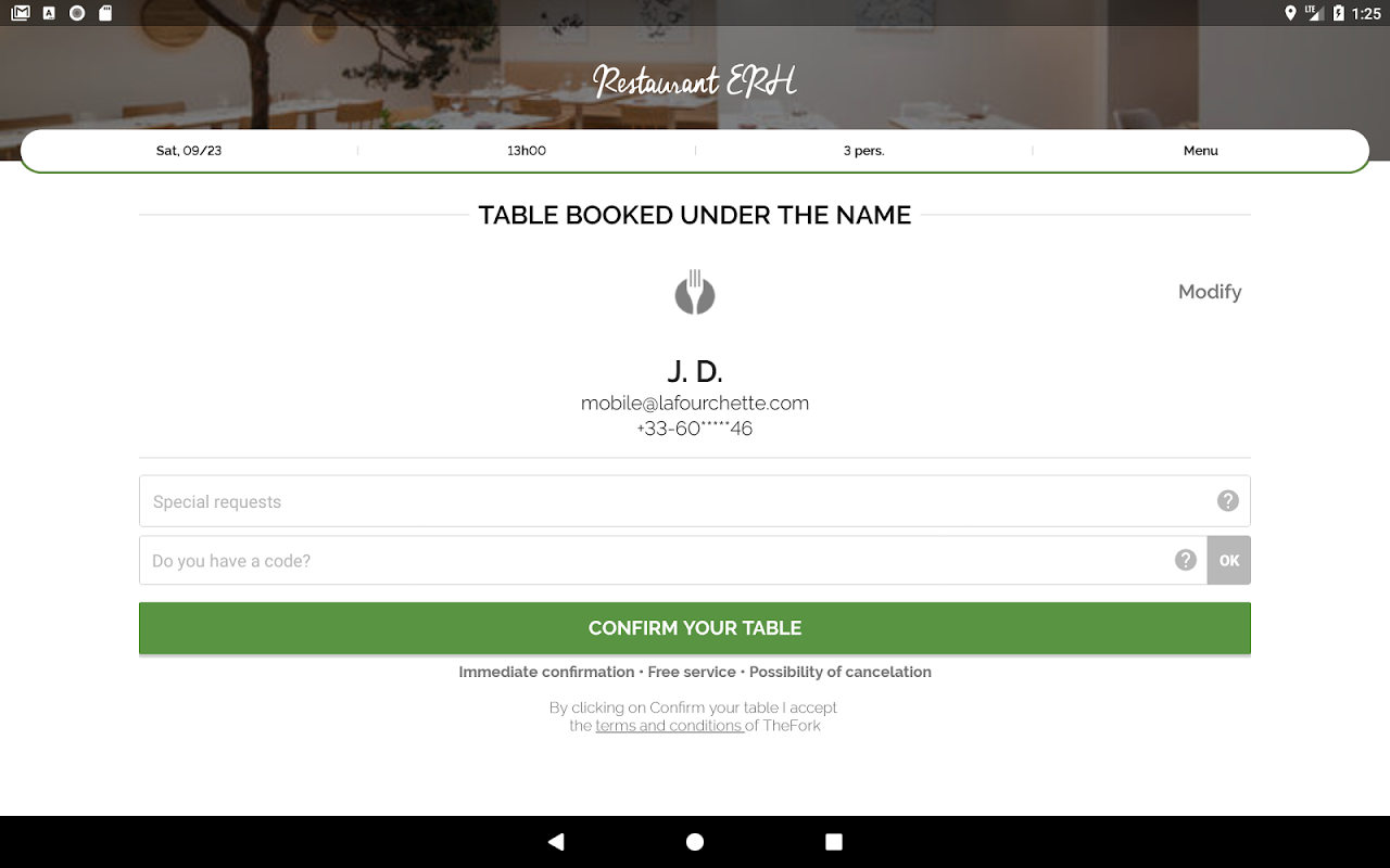 Android TheFork - Restaurants booking Screen 4