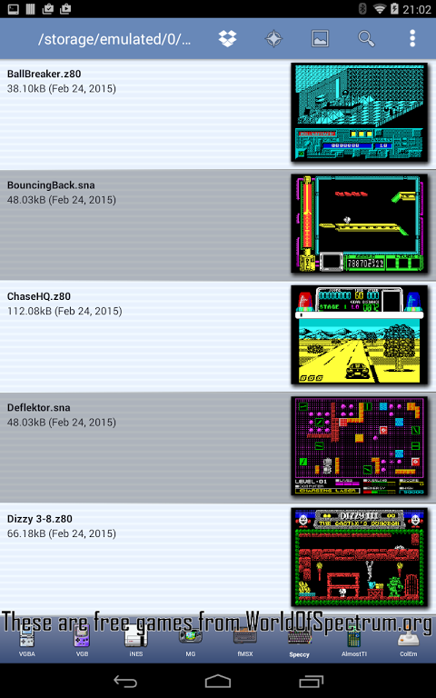 Android Speccy - ZX Spectrum Emulator Screen 17