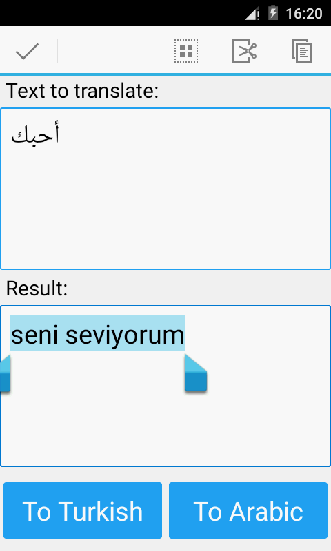 Android Arabic turkish translator Screen 2