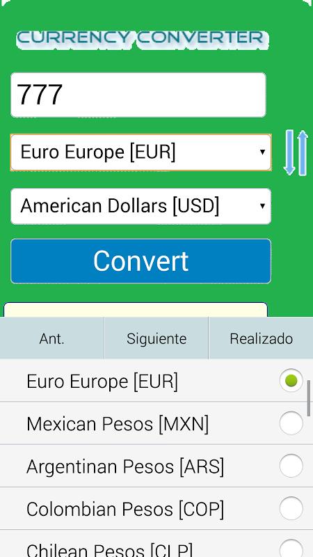 Android Conversor Monedas Screen 1
