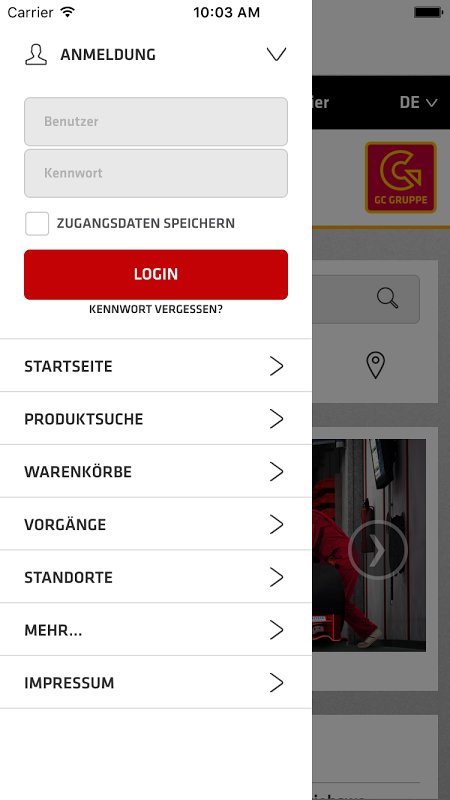 de.onlineplus.mobile.gc 4.0.0 Screen 1