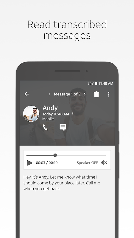AT&T Visual Voicemail 4.3.0.0007 Screen 1