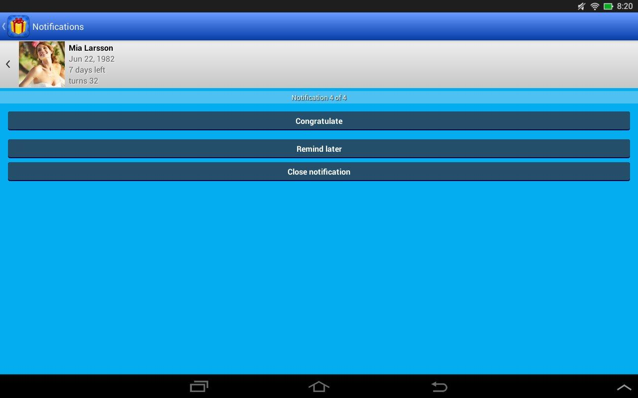 Birthdays for Android 3.4.11 Screen 2