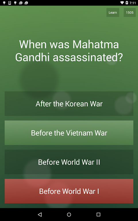 Android General Knowledge Quiz Screen 10