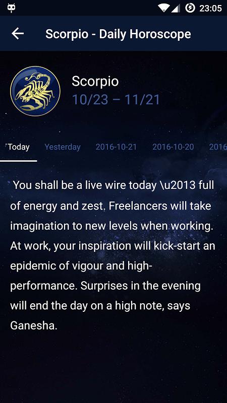 Daily Horoscope 1.1 Screen 2