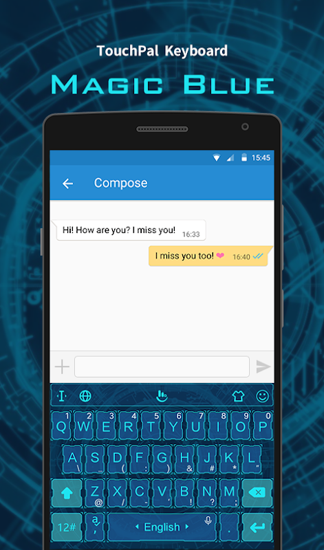 Android Magic Blue FREE Keyboard Theme Screen 2