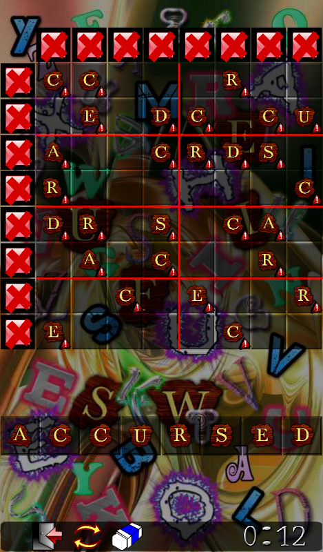 Android Wordoku Frenzy Puzzle Screen 1