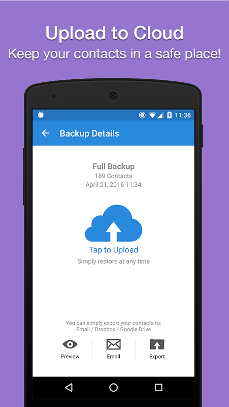 Easy Backup - Contacts Export and Restore 8.9.8 Screen 3