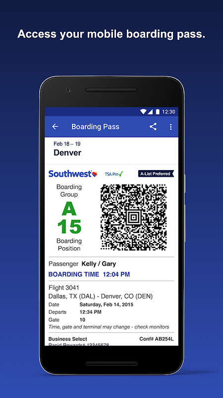 Android Southwest Airlines Screen 1