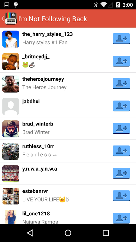 Android Followers Screen 2