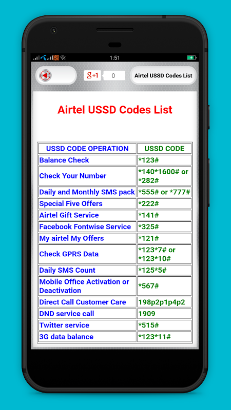 USSD mobile codes for all Indian mobile networks 2.1 Screen 2