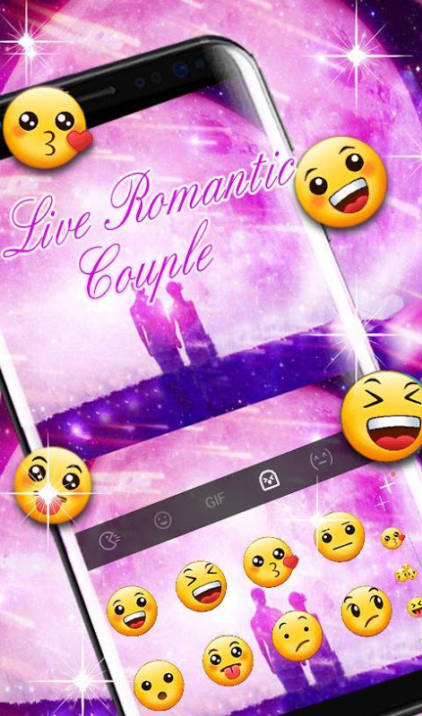 Android Live Romantic Couple Keyboard Theme Screen 4