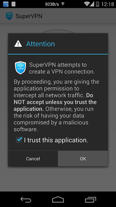 Android SuperVPN Free VPN Client Screen 1