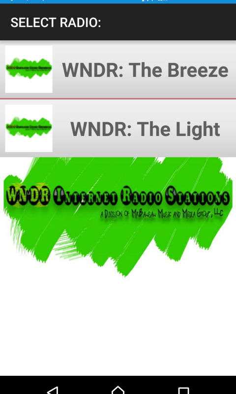 Android WNDR Internet Radio Stations Screen 1