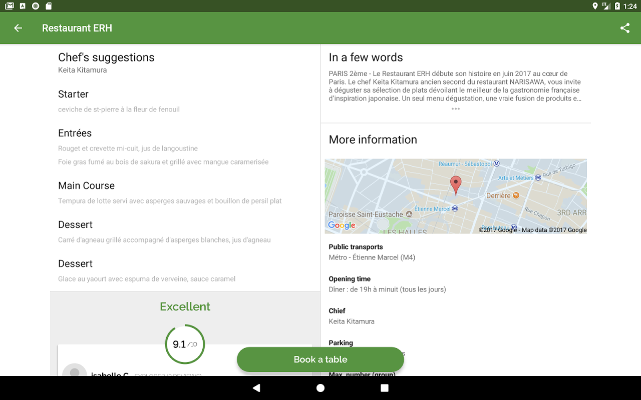 Android TheFork - Restaurants booking Screen 3