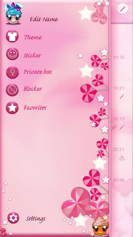 Android Cute Cupcakes SMS Screen 3