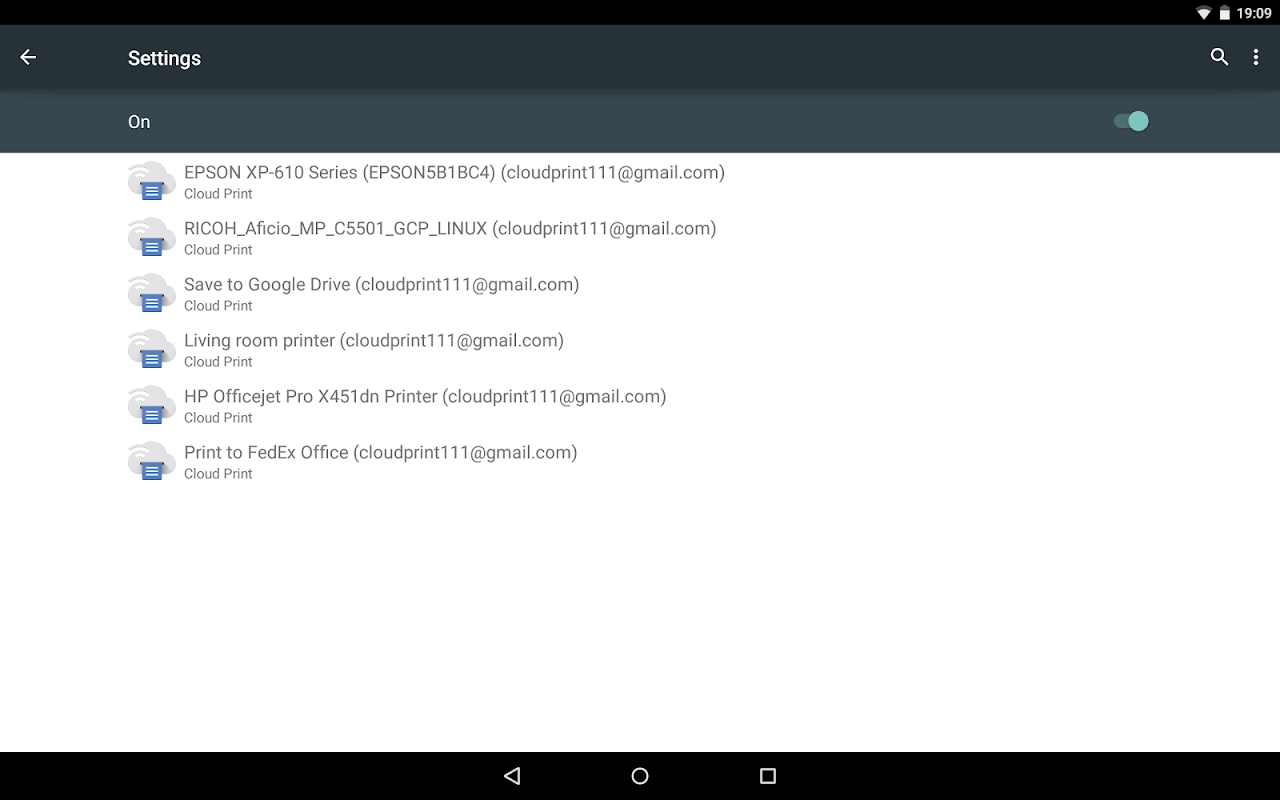 Android Cloud Print Screen 5