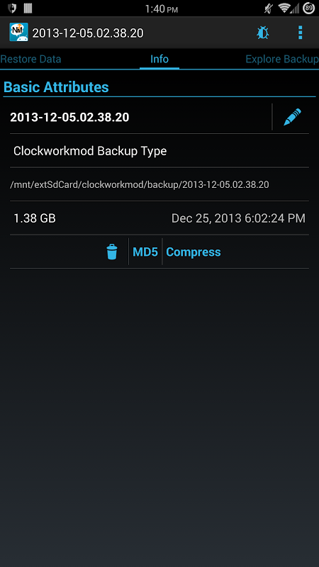 Android Nandroid Manager * ROOT Screen 2